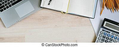 calculator., espace bureau, sommet, informatique, bureau, fournitures, copie, table, vue