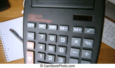 Calculator falling on office desk