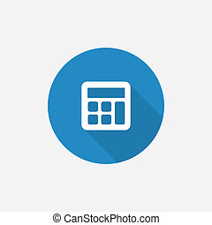 calculator Flat Blue Simple Icon with long shadow