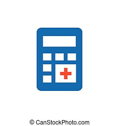 calculator flat design icon blue, orange