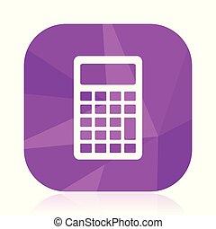 Calculator flat vector icon. Calc violet web button. Math ...