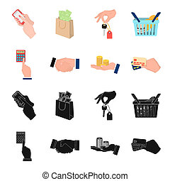 Calculator, handshake and other web icon in black, cartoon style. a stack of coins on the palm, credit cards icons in set collection.