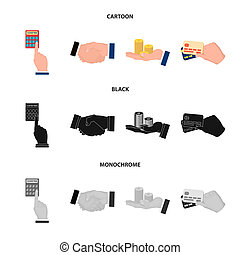 Calculator, handshake and other web icon in cartoon, black, monochrome style. a stack of coins on the palm, credit cards icons in set collection.