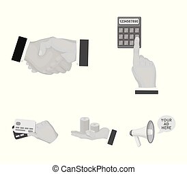Calculator, handshake and other web icon in monochrome style. a stack of coins on the palm, credit cards icons in set collection.