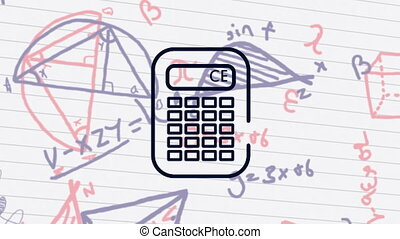 Calculator icon against mathematical equations on white lined paper
