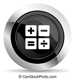 calculator icon, black chrome button, calc sign