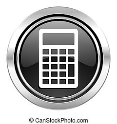 calculator icon, black chrome button