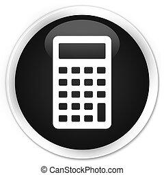 Calculator icon black glossy round button