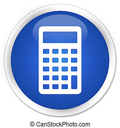 Calculator icon blue glossy round button