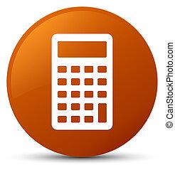 Calculator icon brown round button