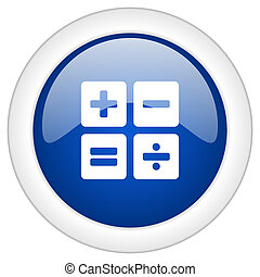 calculator icon, circle blue glossy internet button, web and mobile app illustration