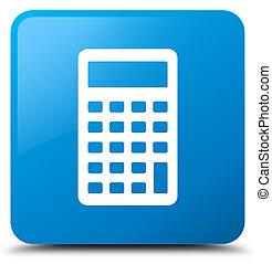 Calculator icon cyan blue square button