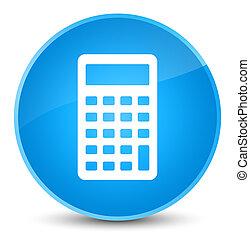 Calculator icon elegant cyan blue round button