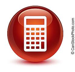 Calculator icon glassy brown round button