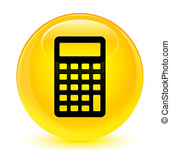 Calculator icon glassy yellow round button