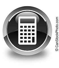 Calculator icon glossy black round button