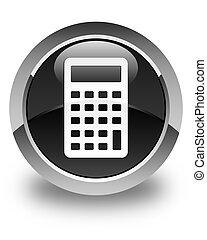 Calculator icon glossy black round button