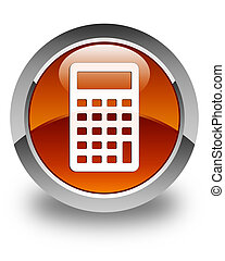 Calculator icon glossy brown round button