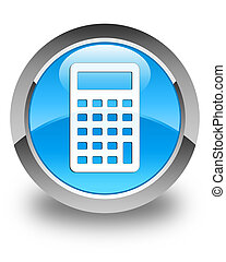 Calculator icon glossy cyan blue round button