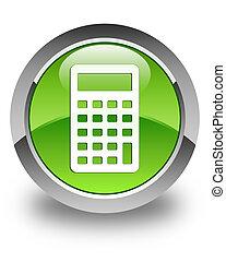 Calculator icon glossy green round button