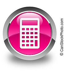 Calculator icon glossy pink round button