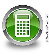 Calculator icon glossy soft green round button