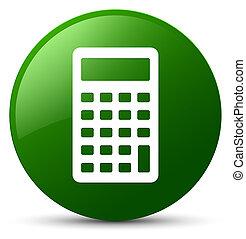 Calculator icon green round button