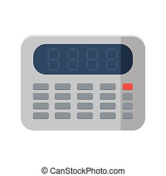 Calculator icon in flat style on white background, vector.