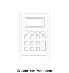 Calculator icon in outline style isolated on white background.
