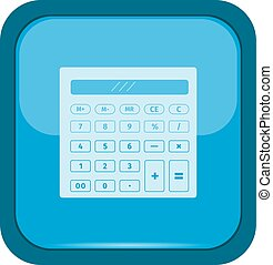 Calculator icon on a blue button
