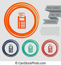 calculator icon on the red, blue, green, orange buttons for your website and design with space text. Vector