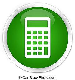Calculator icon premium green round button