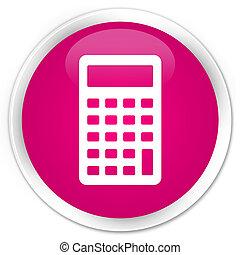 Calculator icon premium pink round button