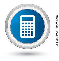 Calculator icon prime blue round button