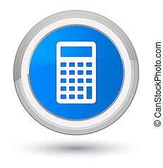 Calculator icon prime cyan blue round button