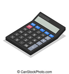 Calculator icon set, isometric style
