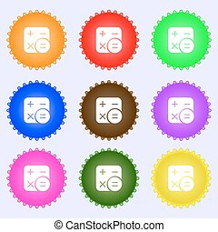 Calculator icon sign. Big set of colorful, diverse, high-quality buttons. Vector