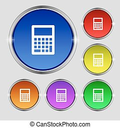 Calculator icon sign. Round symbol on bright colourful buttons. Vector