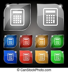 Calculator icon sign. Set of ten colorful buttons with glare. Vector