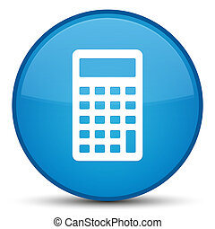 Calculator icon special cyan blue round button