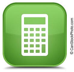 Calculator icon special soft green square button