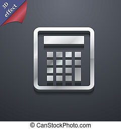 Calculator icon symbol. 3D style. Trendy, modern design with space for your text . Rastrized