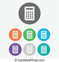 Calculator Icon. Vector icon isolated. Round buttons. Vector