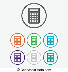 Calculator Icon. Vector icon isolated. Round buttons with frame. Vector