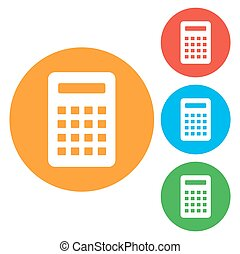 Calculator Icon. Vector icon isolated. Round colourful buttons