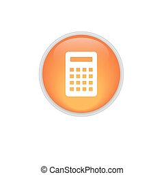 Calculator Icon. Vector icon isolated. Round orange button