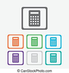 Calculator Icon. Vector icon isolated. Round squares buttons with frame. Vector