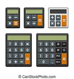 Calculator Icons Set on White Background. Vector