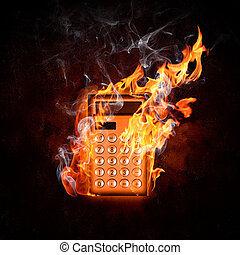 Calculator in fire