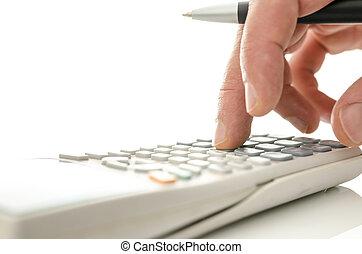 Calculator in use